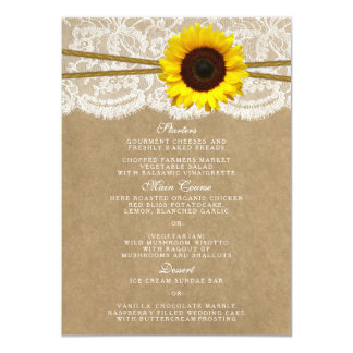 The Kraft, Lace & Sunflower Collection Menu Cards 11 Cm X 16 Cm Invitation Card
