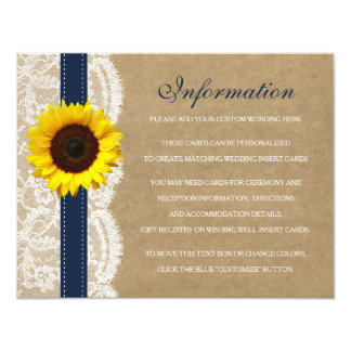 The Kraft, Lace & Sunflower Collection - Navy 11 Cm X 14 Cm Invitation Card