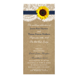 The Kraft, Lace & Sunflower Collection - Navy Full Colour Rack Card