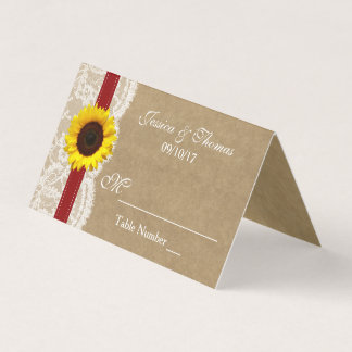The Kraft, Lace & Sunflower Collection - Red Place Card