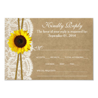 The Kraft, & Lace Sunflower Collection RSVP Cards 9 Cm X 13 Cm Invitation Card