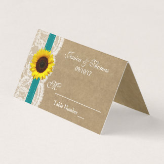The Kraft, Lace & Sunflower Collection - Teal Place Card