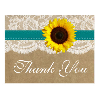 The Kraft, Lace & Sunflower Collection - Teal Postcard