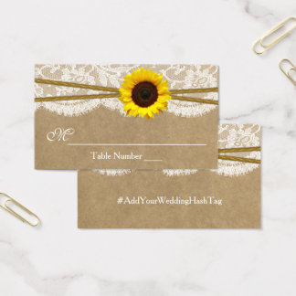 The Kraft, Lace & Sunflower Wedding Escort Cards