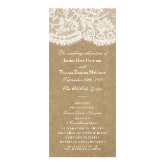 The Kraft & Lace Wedding Collection Programs Custom Rack Cards