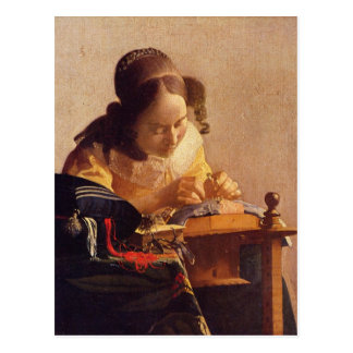 The Lacemaker by Johannes Vermeer Postcard