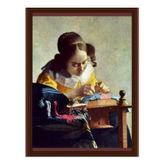 The Lacemaker, Français La Dentelière,  By Vermeer Postcard