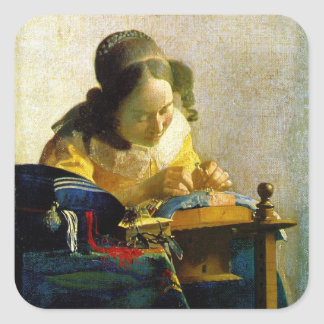 The Lacemaker, Jan Johannes Vermeer Square Sticker