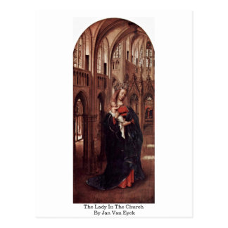 The Lady In The Church By Jan Van Eyck Post Card