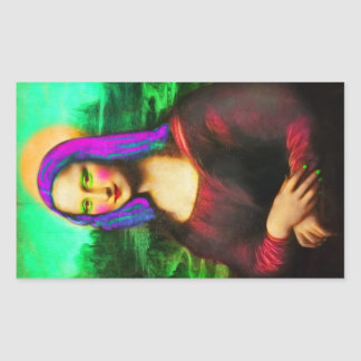 the lady mona lisa rectangular sticker