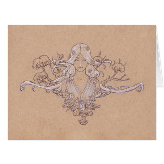 The Lady of Arbor Light Art Nouveau Drawing Card