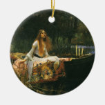The Lady of Shalott (On Boat) by JW Waterhouse Christmas Tree Ornaments
