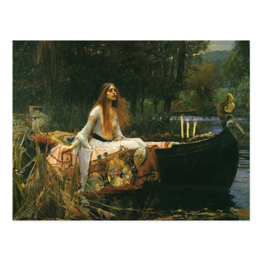 The Lady of Shalott (On Boat) by JW Waterhouse Post Card