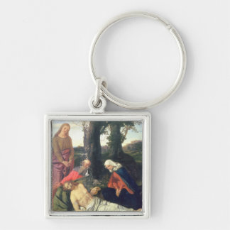 The Lamentation of the Dead Christ Silver-Colored Square Key Ring