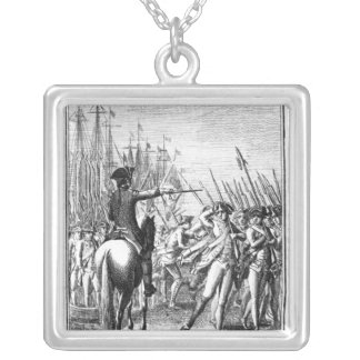 The Landing of a French Auxiliary Army Silver Plated Necklace