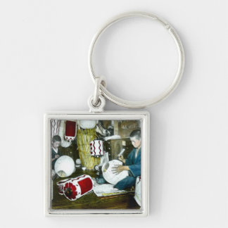 The Lantern Painter Craftsman Vintage Japan No 2 Silver-Colored Square Key Ring