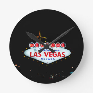 The Las Vegas Sign - Welcome To Fabulous Las Vegas Round Clock