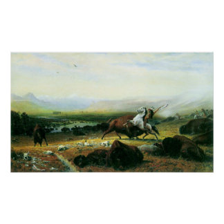 The last Buffalo by Bierstadt Poster
