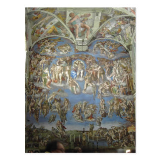 The Last Judgement by Michelangelo. part of the pa Postcard
