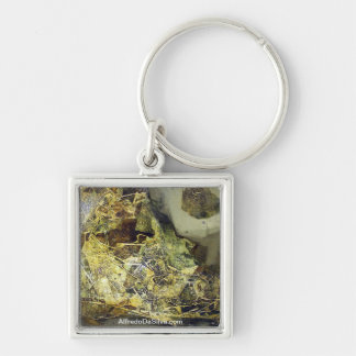 The last movement Silver-Colored square key ring