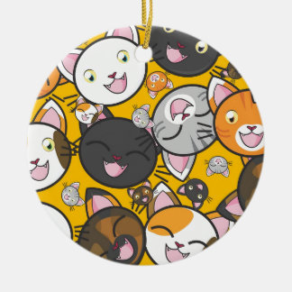 The laughing cats round ceramic decoration