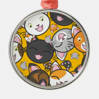The laughing cats Silver-Colored round decoration