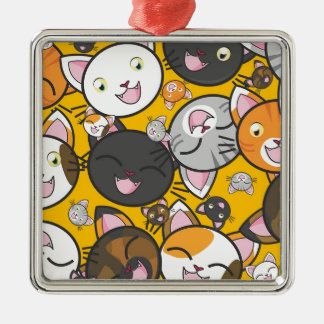 The laughing cats Silver-Colored square decoration