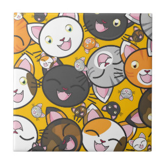 The laughing cats small square tile