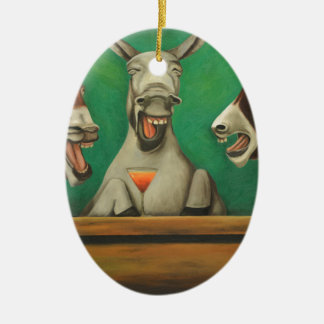 The Laughing Donkeys Ceramic Oval Decoration