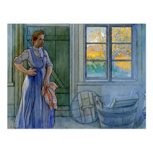The Laundry Woman Looking at Washboard Post Cards