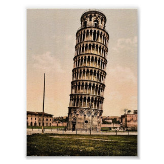 The Leaning Tower, Pisa, Italy classic Photochrom Poster