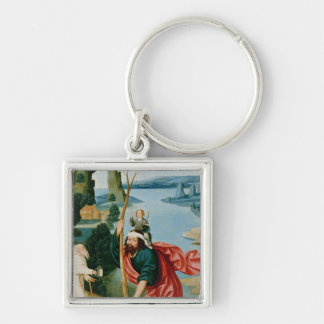 The Legend of St. Christopher Silver-Colored Square Key Ring