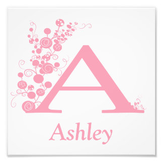 The Letter A - Template - Personlize - Girl Art Photographic Print