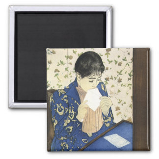 The Letter by Mary Cassatt, Vintage Impressionism Square Magnet