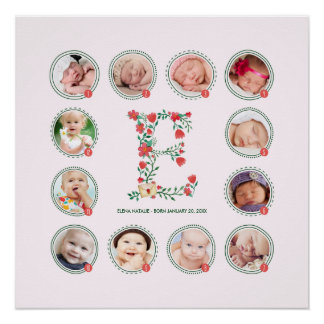The Letter E   First Year Photo Collage Keepsake Poster