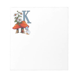 The Letter K, INITIAL, Toadstools, Gnome, Ladybug Notepad