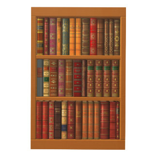 The library of classical books wood wall art