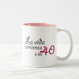 The life begins to the 40 Two-Tone coffee mug