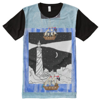 The Lighthouse And The Pirate Ships All-Over Print T-Shirt