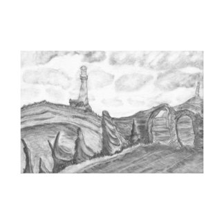 The Lighthouse Pencil Drawing Coastal Landscape Gallery Wrapped Canvas