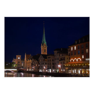 The lights of evening Zurich. Poster