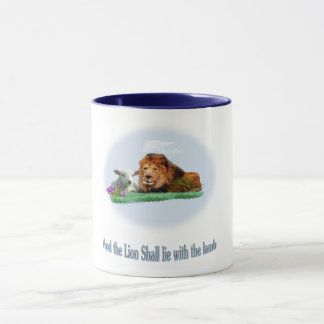 The lion and the lamb art mug