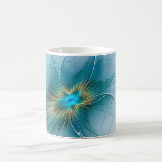 The little Beauty Modern Blue Gold Fractal Flower Coffee Mug