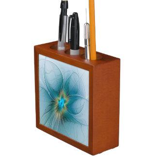 The little Beauty Modern Blue Gold Fractal Flower Desk Organiser