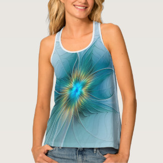 The little Beauty Modern Blue Gold Fractal Flower Singlet