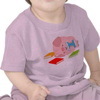 The Little Book Lover Cartoon Pig Baby T-Shirt