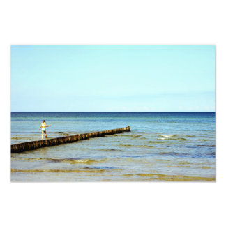 The little girl and the sea photo print
