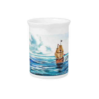 The little Mermaid seascape painting Pitcher