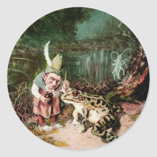 The Little Old Man of the Woods Mural Vintage Round Sticker
