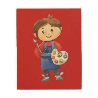 The Little Painter Wood Wall Decor